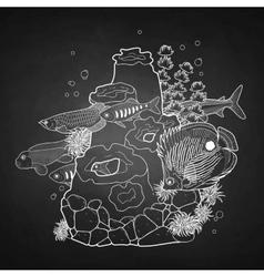 Graphic aquarium fish with coral reef vector image vector image