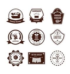 Handmade white brown badges vector
