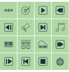 set of 16 music icons includes following music vector image