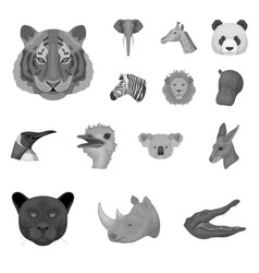 wild animal monochrome icons in set collection for vector image vector image