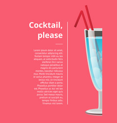 cocktail please advertising poster with blue vector image