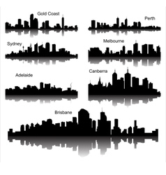 Collection of Detailed silhouettes of Austr vector image