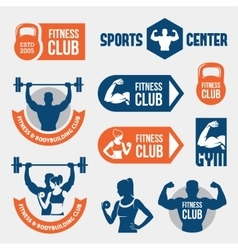 Colored gym labels vector image vector image