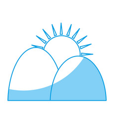 mountains and sun icon vector image vector image