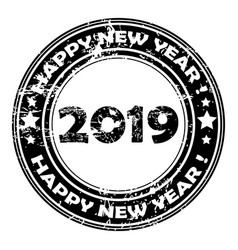2019 happy new year rubber stamp vector image