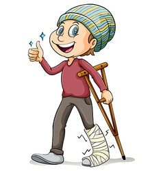 A boy with a fractured leg vector
