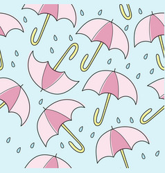 Abstract handmade umbrella and drop seamless vector