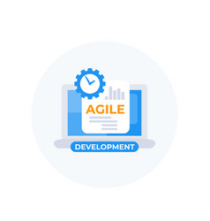 Agile development icon with laptop vector