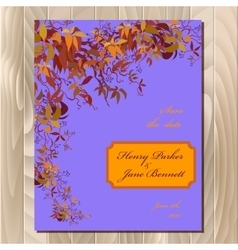 Autumn wild grape wedding card Printable vector image