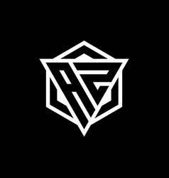 Az logo monogram with triangle and hexagon shape vector