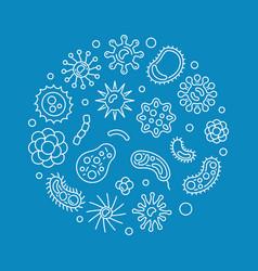Bacteria circular blue outline concept vector
