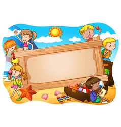 Banner and children vector