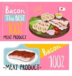 Barbecue bacon assorted on cutting board vector