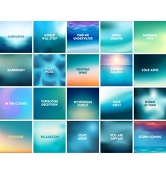 BIG set of 20 square blurred nature turquoise vector image