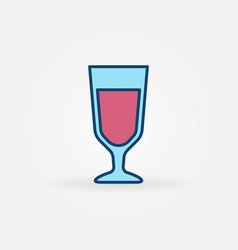 blue glass with red wine icon vector image