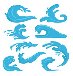 Blue ocean waves water drops and splashes vector