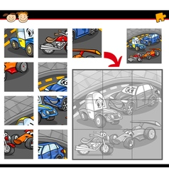 cars cartoon jigsaw puzzle game vector image