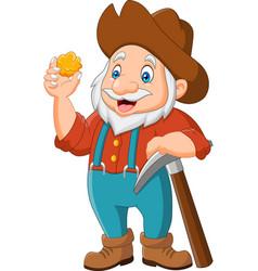 cartoon gold prospector vector image
