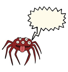 cartoon gross halloween spider with speech bubble vector image