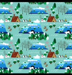Christmas theme landscape seamless pattern vector image