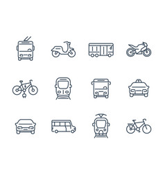 city transport icons linear style vector image