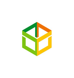 colored polygon structure construction logo vector image