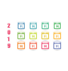 colorful calendar for 2019 with the number of vector image