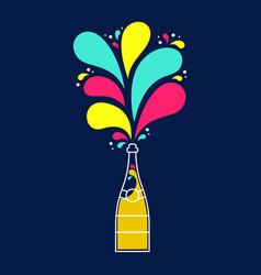 colorful champagne party bottle splash design vector image