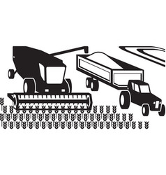 combine harvester and tractor in the field vector image
