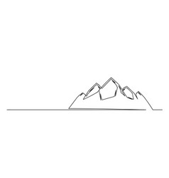 Continuous one line drawing mountain hills vector