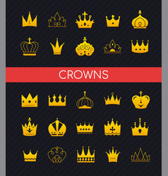 crowns collection - set colorful icons vector image