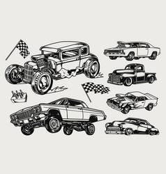 Custom cars vintage concept vector