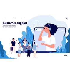 customer support concept professionals help vector image