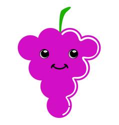 cute grapes emoticon vector image