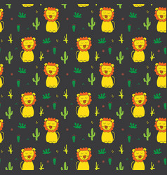 cute lion seamless pattern cartoon hand drawn vector image