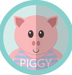 Cute piggy cartoon flat icon avatar round circle vector
