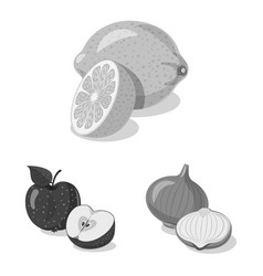 Design of vegetable and fruit sign vector