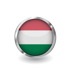 flag of hungary button with metal frame and vector image