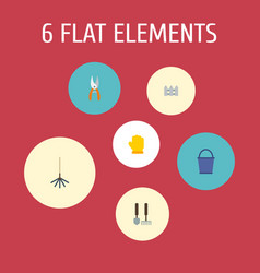 Flat icons rake bucket tools and other vector