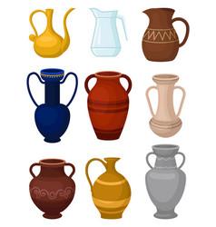 Flat set various jugs glass pitcher vector