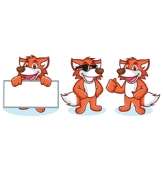 Fox Mascot happy vector image