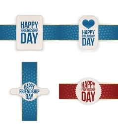 Friendship Day festive Banners with Ribbons Set vector image