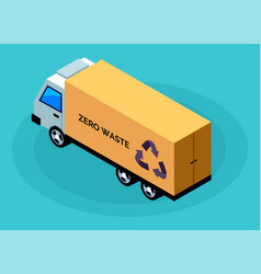 Garbage truck lorry automobile with litter bags vector
