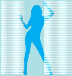 Girl behing bead curtail vector