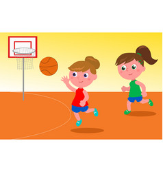 Girls playing basketball vector