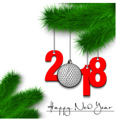 Golf ball and 2018 on a christmas tree branch vector