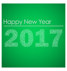 Green happy new year 2017 from little snowflakes vector