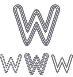 Grey line w logo design set vector image