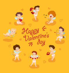 happy valentine day card with cupid angels vector image