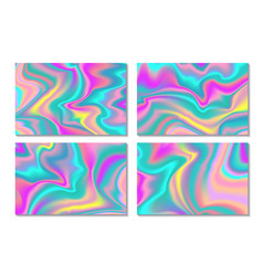 Holographic card background fluid colors banners vector
